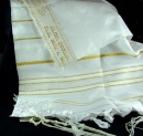 Prayer Shawl: Acrylic White/Gold | 24 inches